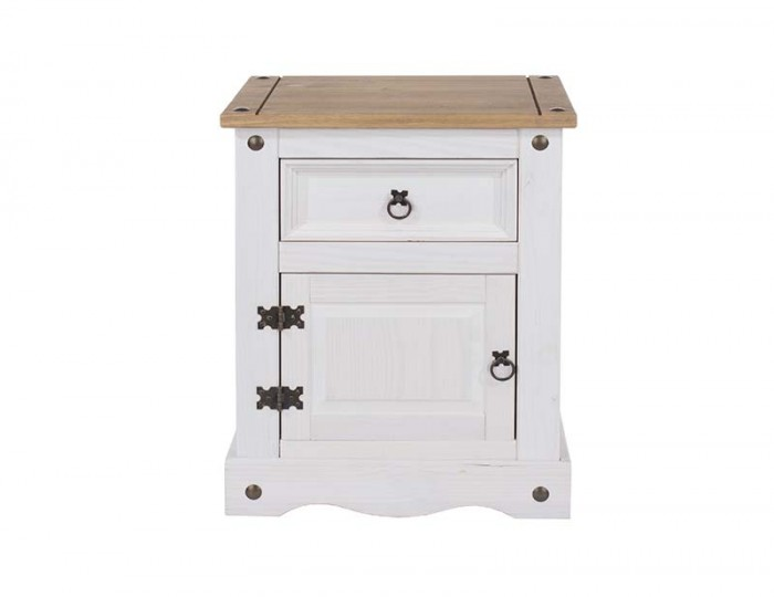 Estrella White 1 Drawer 1 Door Bedside Cabinet