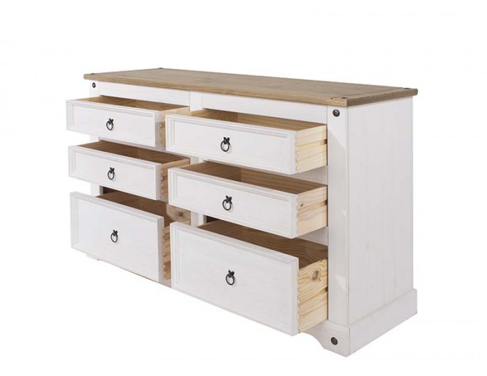 Estrella White 3+3 Wide Drawer Chest