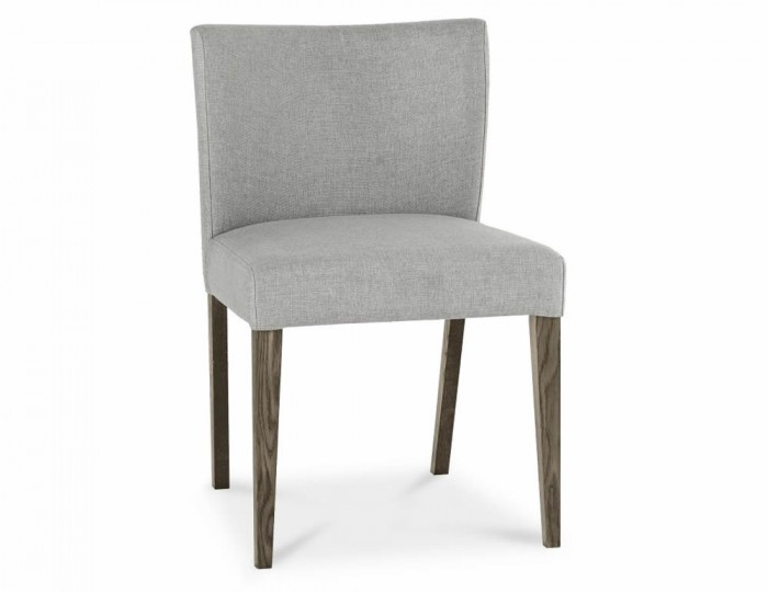 Ventura Dark Oak and Pebble Grey Low Back Upholstered Dining Chairs