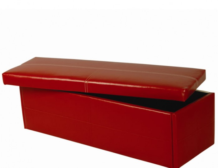 Toni Large Red Faux Leather Ottoman *Special Offer*
