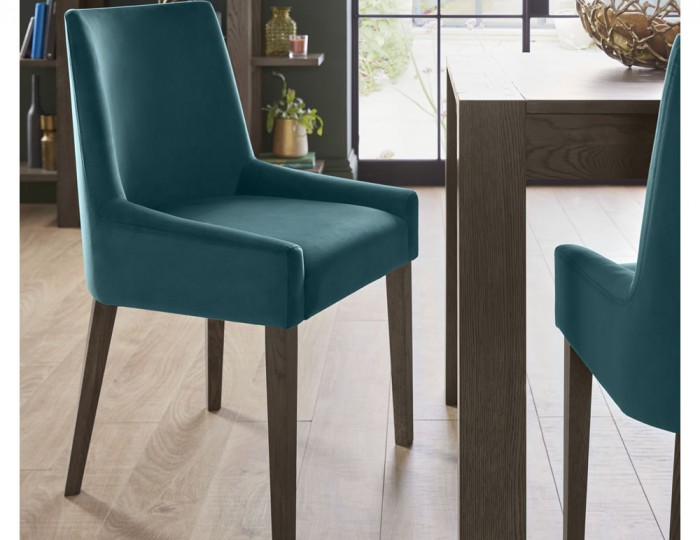 Ella Dark Oak And Sea Green Velvet Upholstered Dining Chair