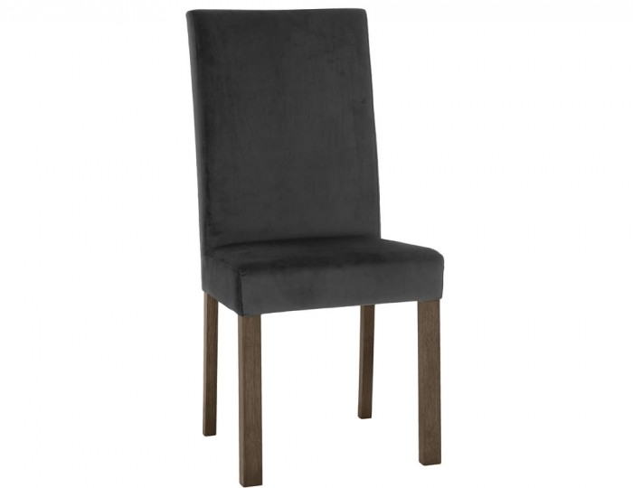 Parker Dark Oak and Gun Metal Velvet Upholstered Dining Chair