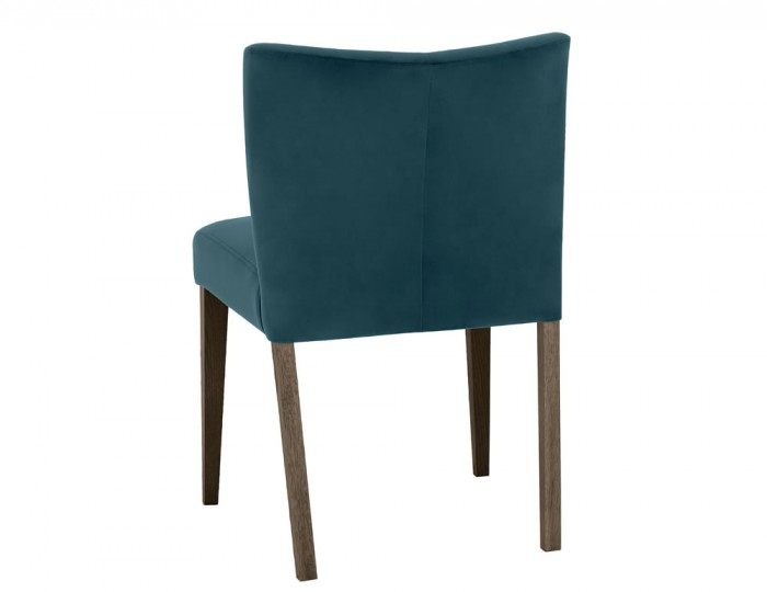 Ventura Dark Oak and Sea Green Velvet Low Back Upholstered Dining Chairs