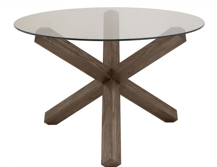 Ventura Dark Oak and Glass Round Dining Table