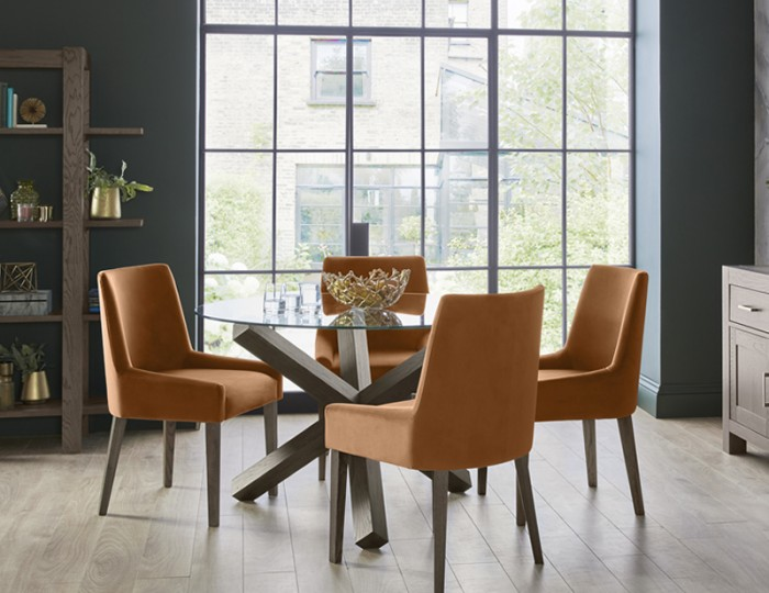 Ventura Dark Oak Round Glass Dining Set