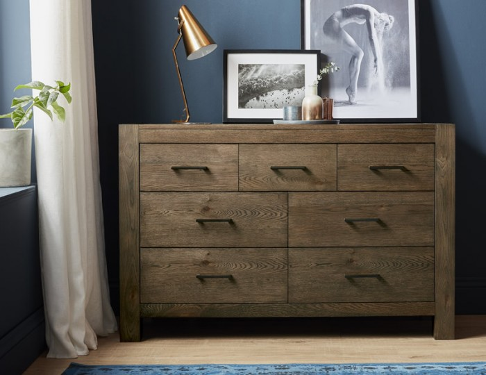 Ventura Dark Oak 4+3 Drawer Wide Chest