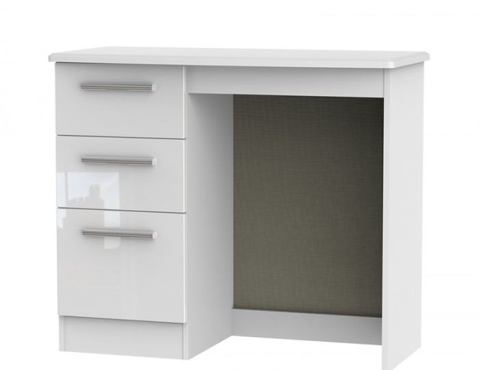 Queen 3 Drawer White High Gloss Dressing Table