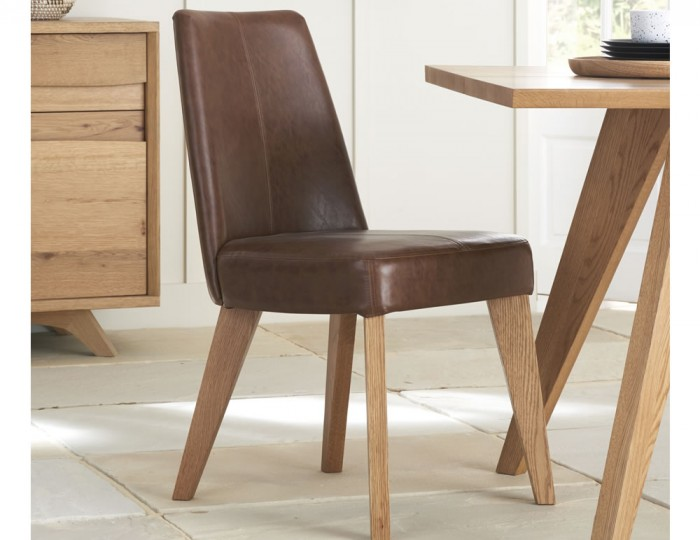 Cadell Rustic Oak and Tan Faux Leather Upholstered Dining Chair