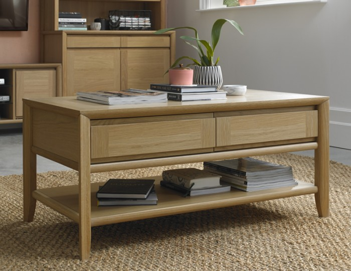 Bergen Oak Coffee Table with Drawers