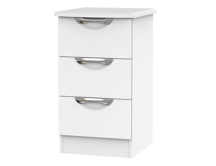 Halifax White Matt 3 Drawer Bedside Chest
