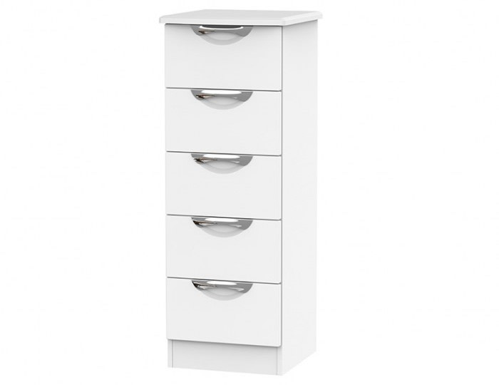 Halifax White Matt 5 Drawer Tallboy Chest