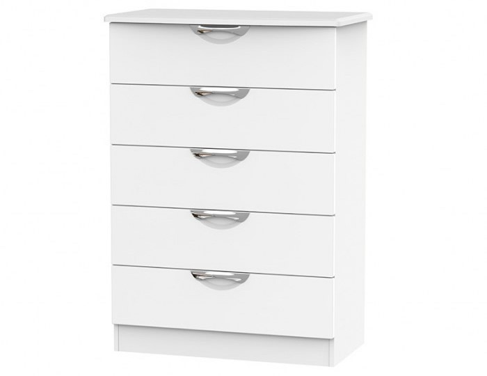 Halifax White Matt 5 Drawer Chest