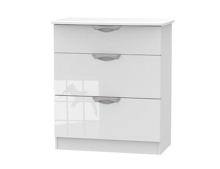 Halifax White High Gloss 3 Drawer Deep Chest