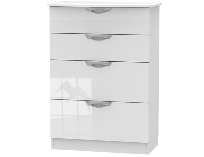 Halifax White High Gloss 4 Drawer Deep Chest