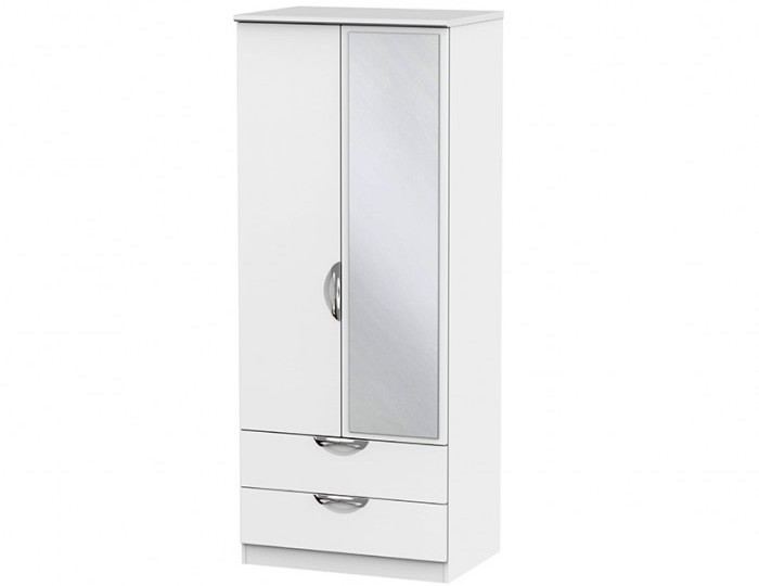 Halifax White Matt 2 Door 2 Drawer Mirrored Wardrobe
