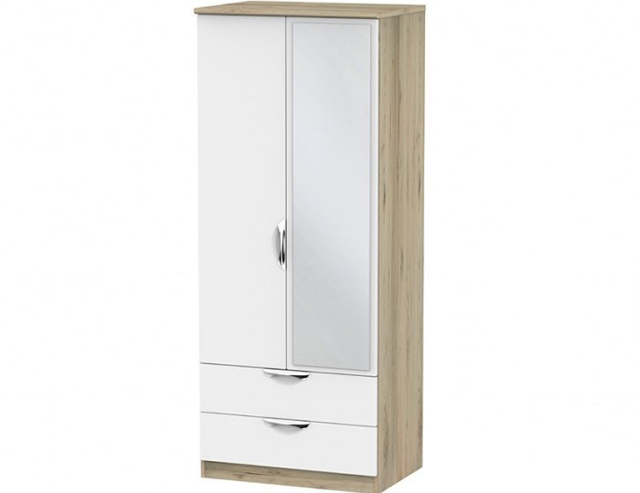 Halifax Grey Bordeaux 2 Door 2 Drawer Mirrored Wardrobe