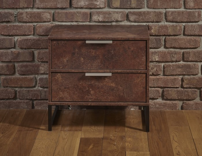 Carlos Copper 2 Drawer Bedside Chest