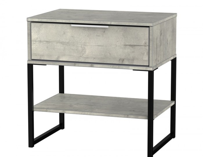 Carlos Concrete Single 1 Drawer Bedside Chest