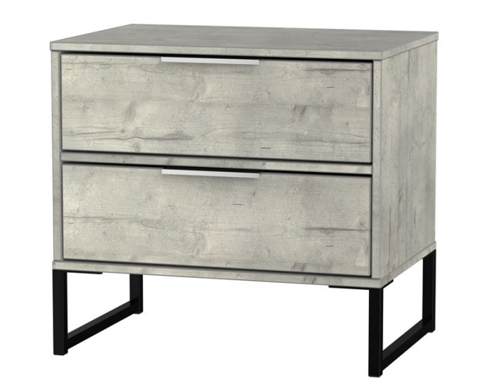 Carlos Concrete 2 Drawer Bedside Chest