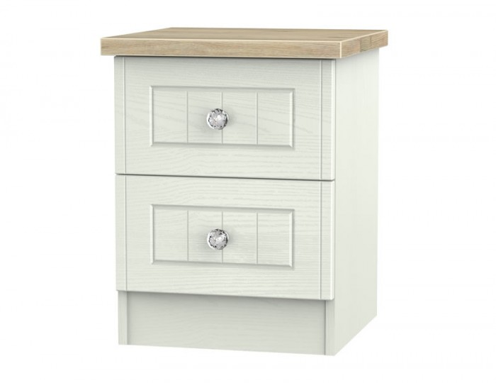 Naples Kaschmir Two–Tone And Crystal 2 Drawer Bedside Chest
