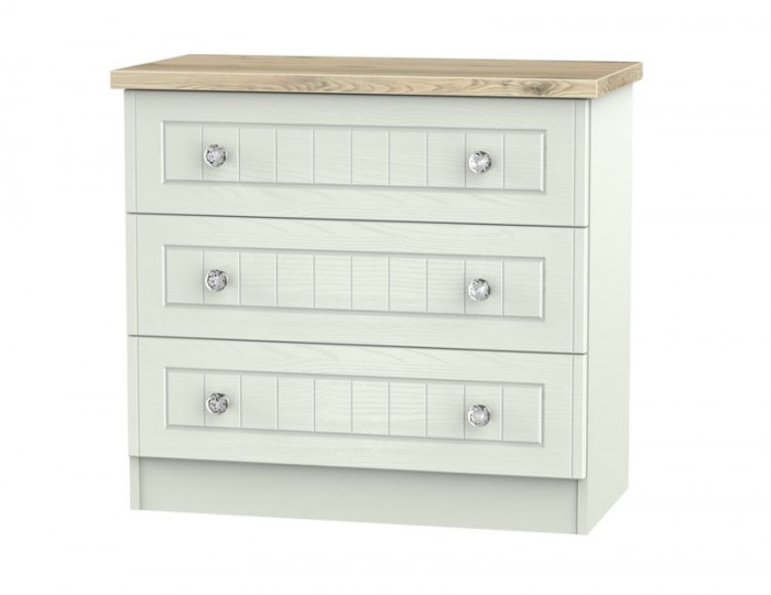 Naples Kaschmir Two-Tone And Crystal 3 Drawer Chest