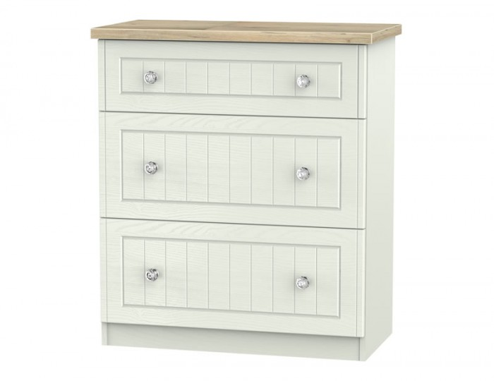 Naples Kaschmir Two-Tone And Crystal 3 Drawer Deep Chest