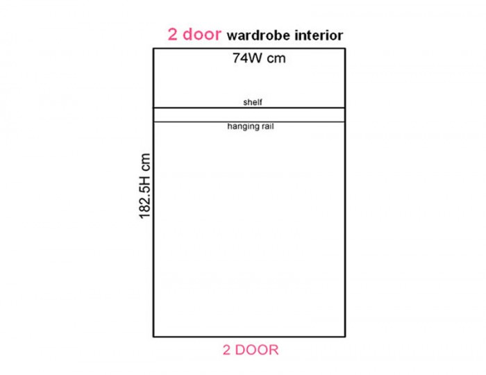 Naples Kaschmir Two-Tone And Crystal 2 Door Wardrobe