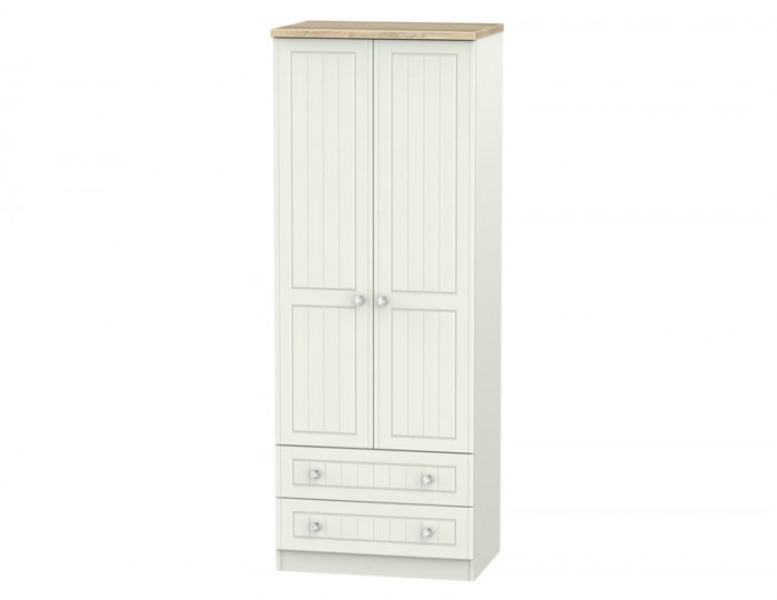 Naples Kaschmir Two-Tone And Crystal 2 Door 2 Drawer Tall Wardrobe