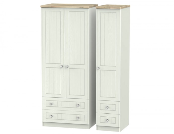Naples Kaschmir Two-Tone And Crystal Tall 3 Door 4 Drawer Wardrobe