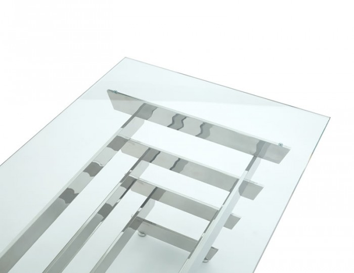 Galactic Glass and Silver Rectangular Coffee Table