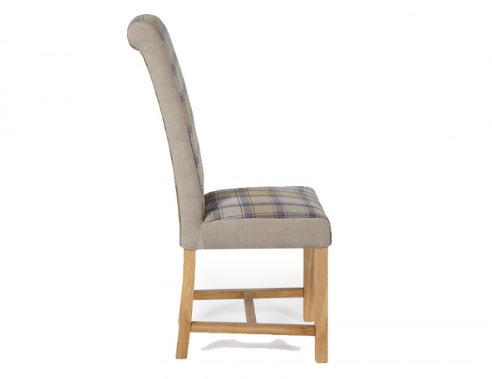 Greenwich Stone Tartan and Oak Dining Chair