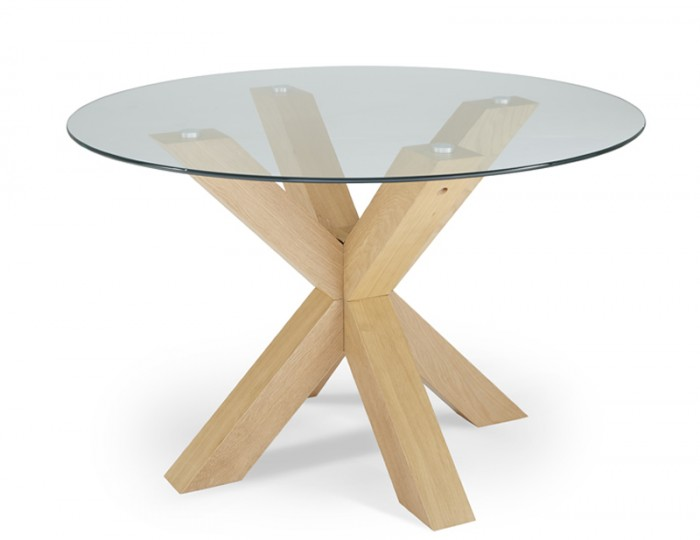 Romford Glass and Oak Round Dining Table