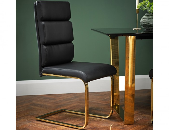 Libe Gold and Black Faux Leather Dining Chair