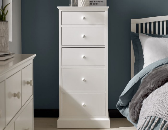 Austin White 5 Drawer Tall Chest