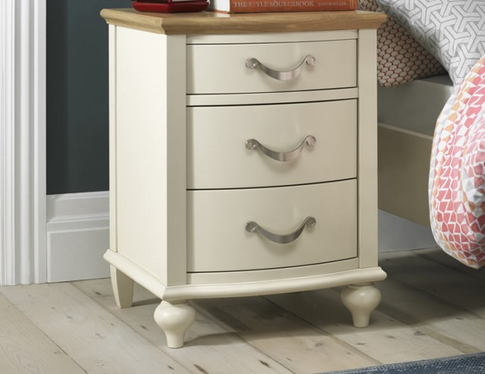 Montreux Antique White & Oak 3 Drawer Bedside Table