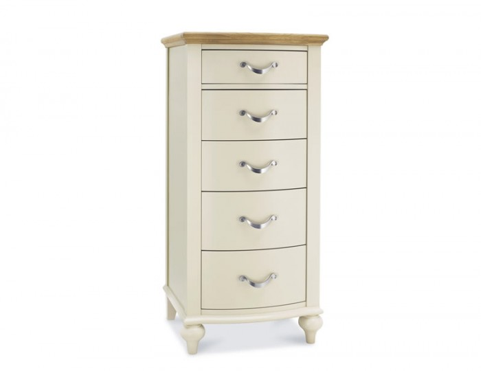Montreux Antique White & Oak 5 Drawer Tall Chest