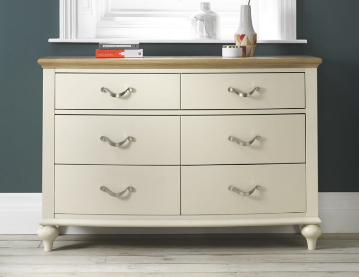 Montreux Antique White & Oak 6 Drawer Wide Chest