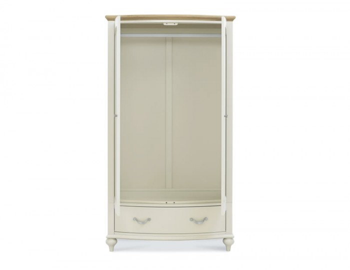 Montreux Antique White & Oak 2 Door 1 Drawer Wardrobe