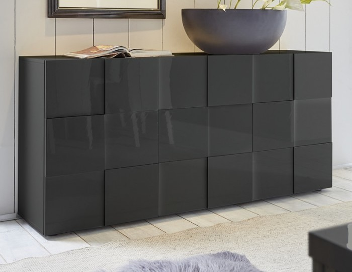 Dama 3 Door Grey High Gloss Sideboard