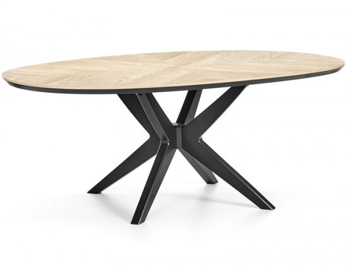 Bridget Oak & Gunmetal Oval Dining Table