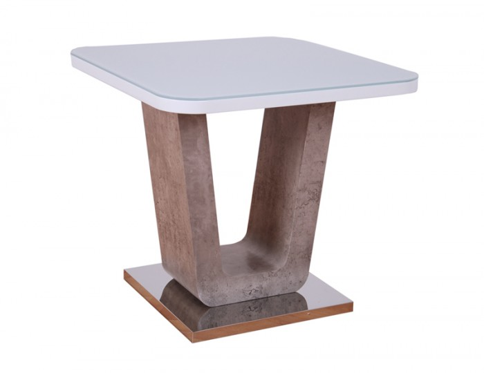 Glendale White High Gloss & Stone Effect Lamp Table