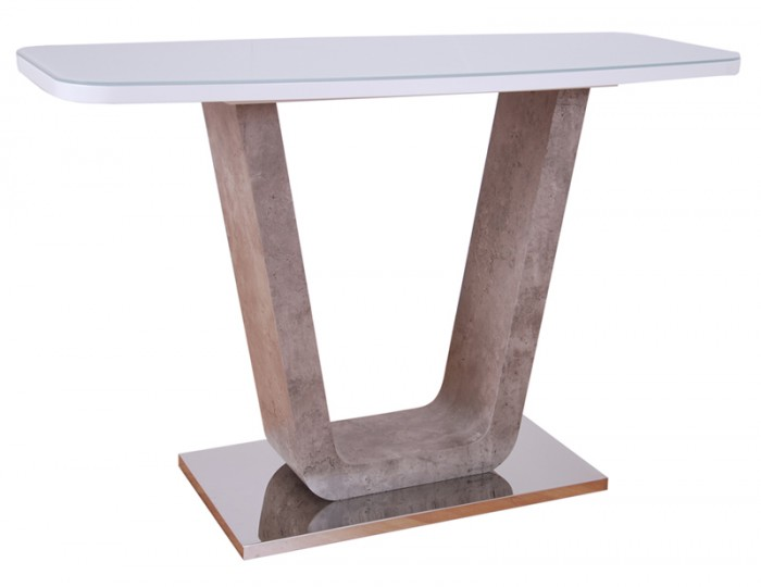 Glendale White High Gloss & Stone Effect Console Table