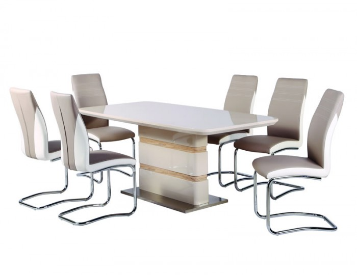 Zuri Champagne High Gloss Extending Dining Table ONLY