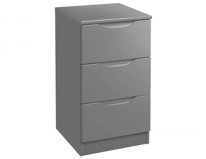 Sabron 3 Drawer Dust Grey High Gloss Bedside Chest