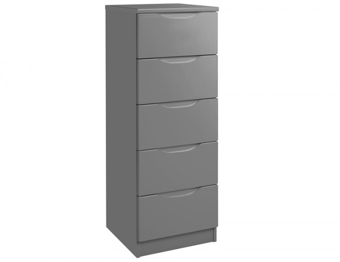 Sabron 5 Drawer Tallboy Dust Grey High Gloss Chest