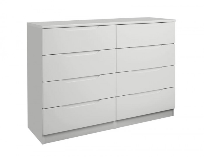 Warren Light Grey 8 Drawer High Gloss Chest