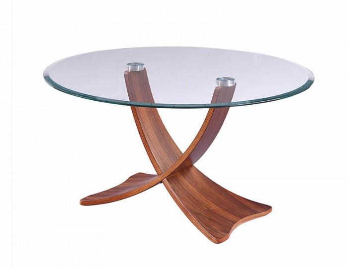 Sinae Walnut and Glass Coffee Table