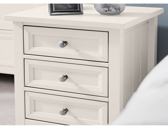 Foxcroft Surf White 3 Drawer Bedside Chest