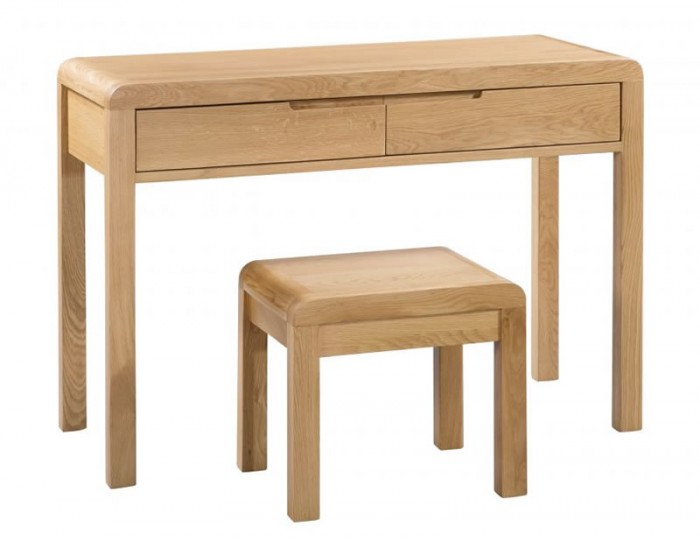 Curve Oak Single Dressing Table & Stool