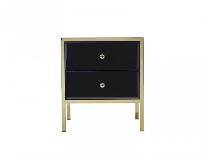 Fenwick Gold and Black Glass 2 Drawer Bedside Chest